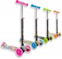 Staro - Monopattino a 3 ruote con potenti luci a LED, regolabile in altezza, per bambini da 2 a 10 anni, facile da usare, ideale per principianti, Pink with drawings, 4-10 years old