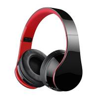 Jiebleum Cuffie Bluetooth Wireless Pieghevole, Audio Stereo Hi-fi Over-Testa Cuffie Senza Fili, Microfono Incorporato con Jack Audio da 3.5 mm, Compatibili con iPhone, Samsung, Huawei, PC, TV (Rosso)