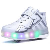 Moquite Unisex Bambino LED Scarpe con Rotelle Automatiche Skate Formatori Sportive Ginnastica Lampeggiante Outdoor Multisport Running Sneaker per Ragazze e Ragazzi (33 EU, Bianco(Doppia Ruota))