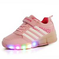 KISCHERS Bambino LED Scarpe con Rotelle, Singola Rotelle Lampeggiante Sneaker per Bambina e Uomo, Outdoor Sneakers (36, Rosa)