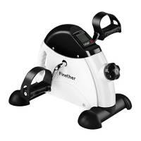 Finether Mini Bike Cyclette Pedaliera Movimento Allenatore Braccio e Gamba Bicicletta Allenamento con Monitor LCD Regolabile Resistenza, Bianco