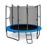 Klarfit Rocketboy 250 Tappeto Elastico trampolino da giardino (250 CM, Rete di Sicurezza, aste imbottite, scala, telo antipioggia) blu
