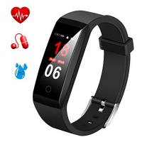 Fitness Tracker,MSDJK Orologio Fitness Activity Tracker braccialetto intelligente Display a colori .IP 67 Smartwatch,Pedometro,Cardiofrequenzimetro, misuratore della pressione sanguigna, rilevatore di sonno per uomini e donne compatibile IOS e Android(nero)