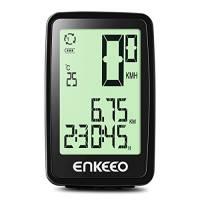 ENKEEO Computer da Bicicletta Wired con lo Schermo Retroilluminato Fino a 12 Ore, 3 Modalità di Velocità Display Multifunzione Batteria Ricaricabile 120 mAh e Cavo USB