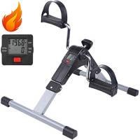 AGM Mini cyclette pieghevole pedaliera da casa regolabile digitale mani e piedi Pedale per Braccia e Gambe (Exercise Pedal Bike)