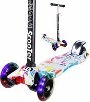 Monopattino per bambini-Miss Eedan 3ruota a T regolabile in altezza con manico Kick scooter con Deluxe PU lampeggiante ruote Wide Deck per bambino/bambina da 2a 14anni, Grafitti