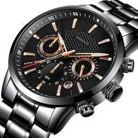 WISHDOIT Uomo Casual Sportivo Impermeabile Analogico Quarzo Calendario Orologio Cronografo Con Moda Nero Acciaio Inossidabile Bracciali 9866B