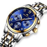 Orologio Uomo Acciaio Inox Orologio Bracciale da Uomo Impermeabile Cronografo Data Calendario Lusso Analogico al Quarzo Cronometro da Polso Business Casuale con Quadrante Blu Cinturino Oro Argento