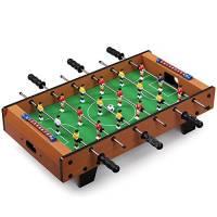 BAKAJI- Calcio Balilla Biliardino da Tavolo in Legno MDF con Piedini di Rialzo Antiscivolo, Colore Cromato, 2816397