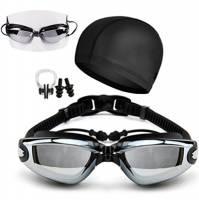 Occhialini Da Piscina Galvanotecnica Tappi Per Le Orecchie Siamesi Cappelli Da Nuoto Telaio Grande Miopia Impermeabile Anti-Fog E UV Adulto Adulto Regolabile Occhiali Da Nuoto Set,Black