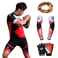 Asvert 5 pezzi Abbigliamento Ciclismo Sportivo da Uomo Magllia + Pantaloncini+ Guanti Ciclismo+Manicotti da Braccia+ Sciarpa per Bicicletta Motociclista Bicicletta