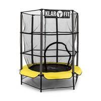 Klarfit Rocketkid 3 Tappeto Elastico trampolino per bambini (140 CM, Rete di Sicurezza, aste imbottite, kit montaggio) giallo