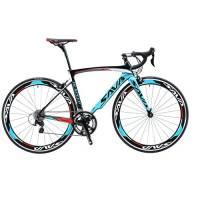 SAVA Bici da Strada 700C Fibra Di Carbonio SHIMANO 5800 22 Vitesses Système Bicicletta Ultralight (Blu, 52cm)