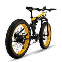 MERRYHE 26 * 4.0 Fat Tire Road Bicicletta Pieghevole 48V 500W Uomini Mountain Ebike 27 Speed Beach Snow Road Bike Citybike Bicicletta Elettrica Rimovibile Batteria Al Litio,Yellow-48V10ah