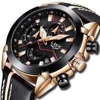 Orologio da uomo LIGE, Orologio sportivo analogico al quarzo di moda, cronografo militare impermeabile in pelle nero, Casual Quadrante grande orologio calendario