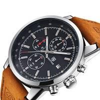 BENYAR moda uomo al quarzo cronografo impermeabile orologi business casual sport design Brown Leather Band cinturino da polso orologio (Silver back)