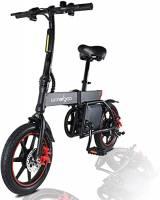 """Windgoo Bicicletta Elettrica Pieghevole - Bici Elettrica Unisex Adulto - 36V 6.0AH Litio Batteria - 25Km/h - 14"""" con Display - Freno a disco - Nero"""