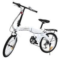 Ridgeyard - Bicicletta pieghevole 20 pollici 6 velocità con luce LED a batteria sulla staffa posteriore, Uomo, White