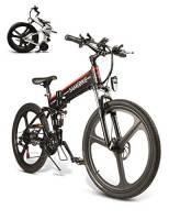 SAMEBIKE Mountain Bike elettrica 26 Pollici Pieghevole Bici elettrica 350W 48V 10AH Mountain Bike elettrica per Adulti (Nero)