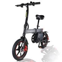 MoovWay Bicicletta Elettrica Pieghevole con Pedali, Sedile Regolabile, Compatta Portatile, velocità Massima 20km/h, Autonomia 18km, Pneumatici 14 Pollici, modalità Crociera (Nero)