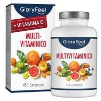 GloryFeel® Integratore Multivitaminico e Multiminerale | 450 Compresse (Scorta per 1+ Anno) | Vitamine A,B,C,D3,E, Calcio, Zinco, Selenio | Vitamine e Minerali per Uomini e Donne