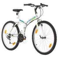 Multibrand, PROBIKE Folding MTB 26, 26 Pollici, 457mm, Mountain Bike Pieghevole, 18 velocità, Full Suspension, Unisex, Grigio Verde, 26 inch (Bianco/Blu-Verde, 26x18)