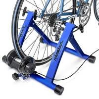 Relaxdays 10018322_45, Trainer Pieghevole Bicicletta 6 velocità, Cerchi da 26-28, Blu e Verde Unisex Adulto, 1 pz